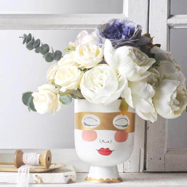 Little Girl Head Matte Table Flower Vase Woman Face Golden Eye Mask Flower Arrangement Big Mouth Desk Pot Home Decorative Bottle