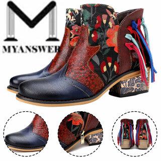 MyAnswer Bốt Thêu Giày Nữ Bốt Tây Mùa Đông Và Thu Nối In Họa Tiết thumbnail