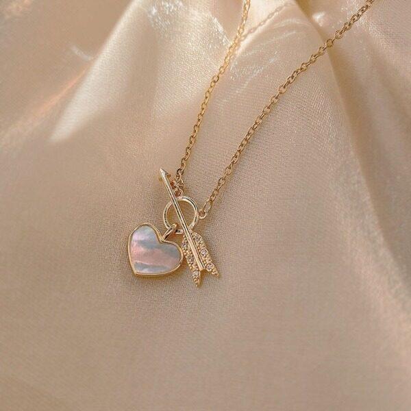Fashion Jewelry Shop Vòng cổ hình trái tim mới cho nữ Chuỗi xương đòn chất liệu đồng cao cấp Quà tặng ngày lễ tình nhân