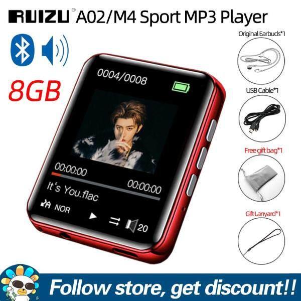 Original RUIZU A02 M4 Full Touch Screen 1.8 inches Bluetooth V4.0 MP4 MP3 Player 4GB 8GB 16GB Music HiFi Player Portable Audio Walkman with Built-in Speaker Support FM Radio Recording E-book Clock Pedometer Video Player