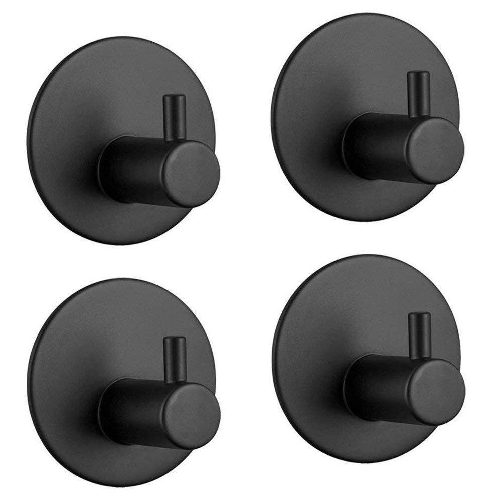 4Pcs Easy Install Single Waterproof Rustproof Home Organizer Bathroom Adhesive Hook Small Round Rail Toilet No Drilling Kitchen Space Saving Stainless Steel