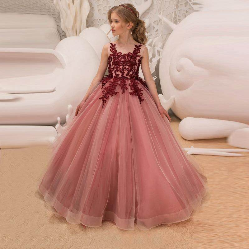 4e0346df34 Tulle Lace Girls Princess Dresses Elegant Wedding Party Ball Gowns for Girl  Kids Birthday Costume for