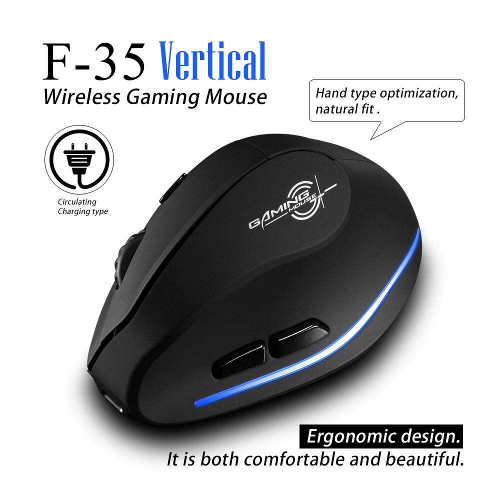 Dyerstore-Zelotes F-35 2.4GHz Wireless Rechargeable 2400DPI 6 Button Vertical Mouse Mice Malaysia