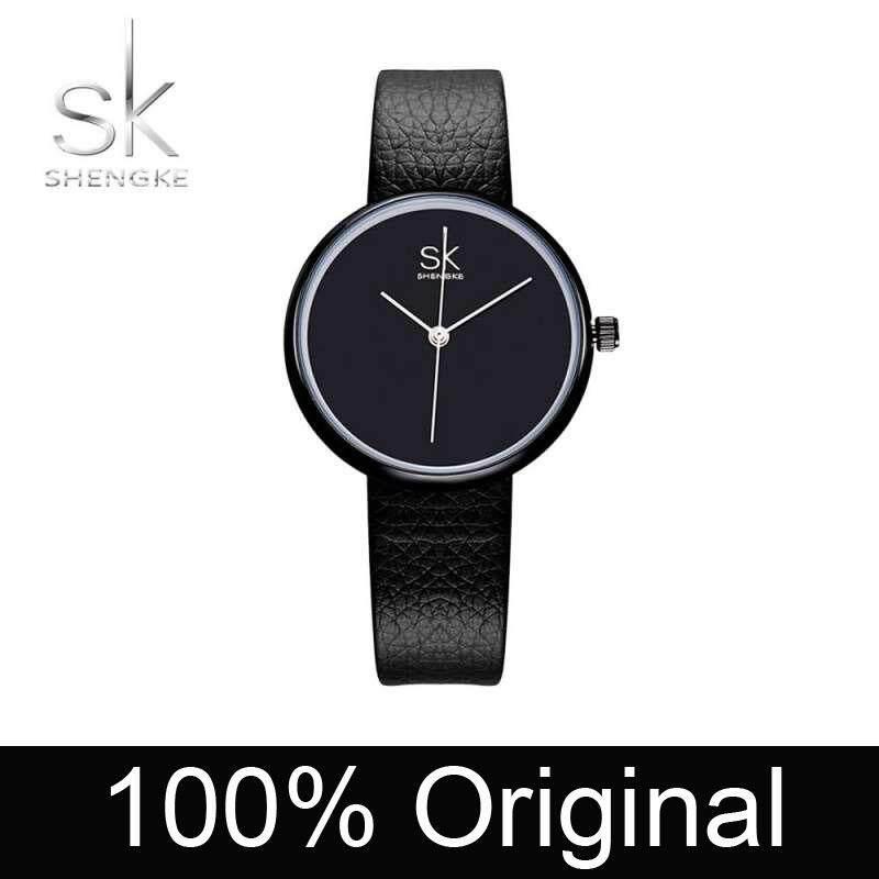 ShengKe Business Watch for Women Fashion Casual Waterpoof Quartz Watches Jam Tangan Wanita Wrist Watches Stainless Steel Big Dial Leather Black/White Malaysia