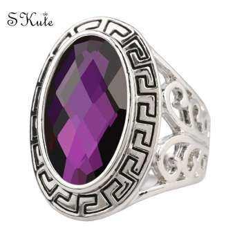 ❤SKute Retro แหวนหิน Boho คริสตัลสีแดงสีฟ้าแหวนเซอร์คอนส์ VINTAGE Chunky สุภาพบุรุษแหวนผู้หญิงผู้ชาย Unisex อัญมณีสำหรับปาร์ตี้-