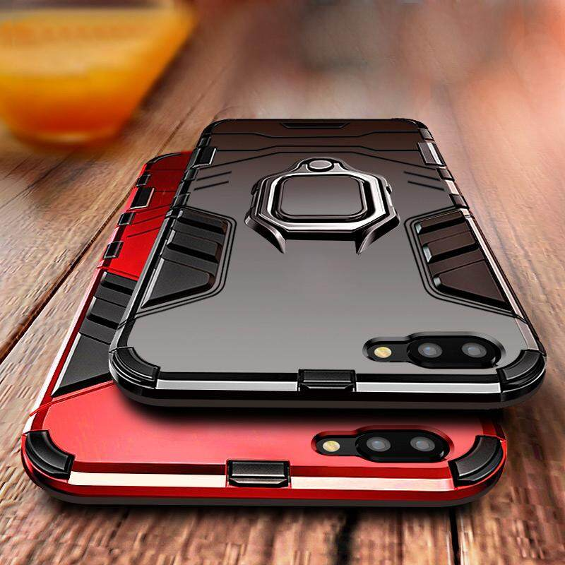 For OPPO A3S Shockproof Bracket Magnet Suction KickStand 360 Ring Holder Hard Car Case Cover