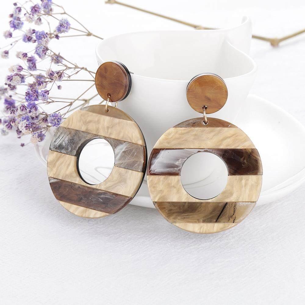 49532b89a2d ILYF Fashion Striped Geometric Resin Acrylic Earrings For Women Round  Hollow Big Circle Acetate Drop Earrings