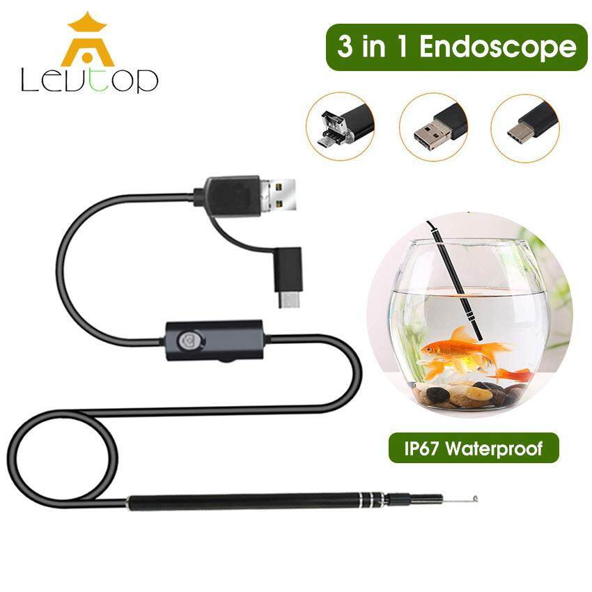 LEVTOP USB Endoscope Camera Ear Cleaning Digital Microscope 3 in 1 Inspection Cameras HD Visual Earwax Remover Cleaner IP67 Waterproof Borescope Ear Spoon Earpick w/ 6 Adjustable LED Lights