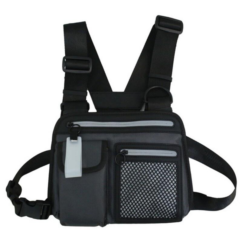 Women Men Street Wear Vest Tactical Fanny Shoulder Bags Pack Chest Bag Backpack