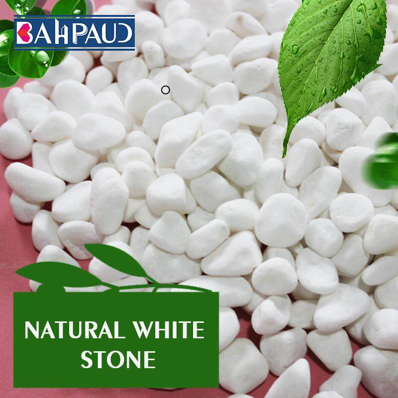 Bahpaud 1kg Natural White Stone White Marble Cobblestone Japanese Garden Landscaping Potted Gardening