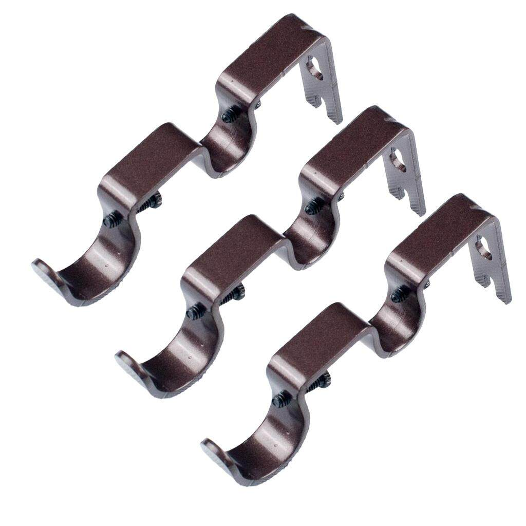 "Perfk 6Pcs Brown Drapery Steel Double Curtain Rod Bracket for 1& 5/8"" Rod"