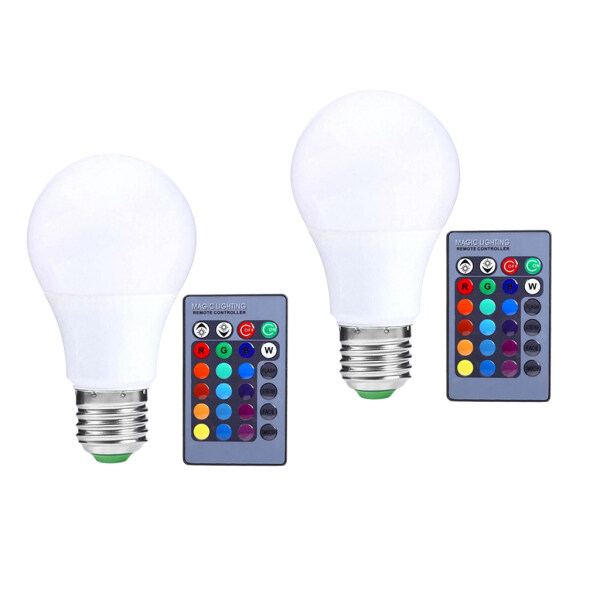 Fityle 2x RGB LED Bulb Color Changing Ambience Light Night Lamp 5W E27