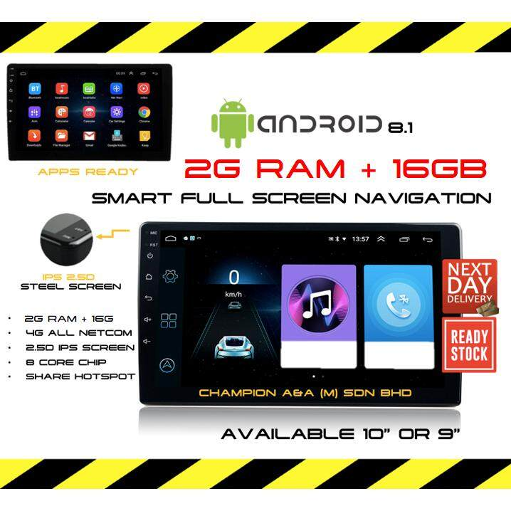 10 1'' Android 8 1 with (2RAM 16GB IPS 2 5d SCREEN) Car Stereo 2DIN WIFI  GPS Nav Quad Core Radio Video MP5 Player (4 core,2g Ram+16g Memory) PERODUA  /
