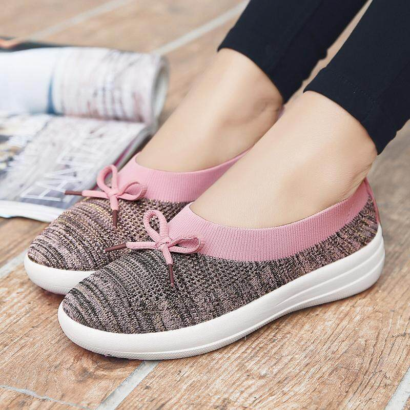 80df01c7218f3 Women Shoes Plus Size Korean Loafers Knitted Fabric Flat Shoes Slip On  Wedge Korean Ladies Shoe