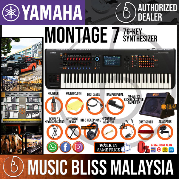 Yamaha Montage 7 76-key Music Synthesizer with 40-Watts Kickback Style Keyboard Amplifier and Roland RH-5 Headphone Package (Montage7) Malaysia