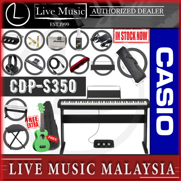 Casio CDP-S350 88-key Digital Piano *Big Sale* with Keyboard Stand, Keyboard Bench, Sustain Pedal,  (CDPS350 / CDP S350) Malaysia