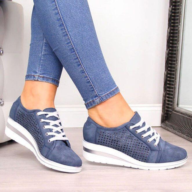 Phụ Nữ Căn Hộ Giày Giày Nữ Thường Ngày Lưới Thoáng Khí Đục Lỗ Giày Lười Đế Bằng Ren Lên Giày Người Phụ Nữ Bãi Biển Tenis giá rẻ