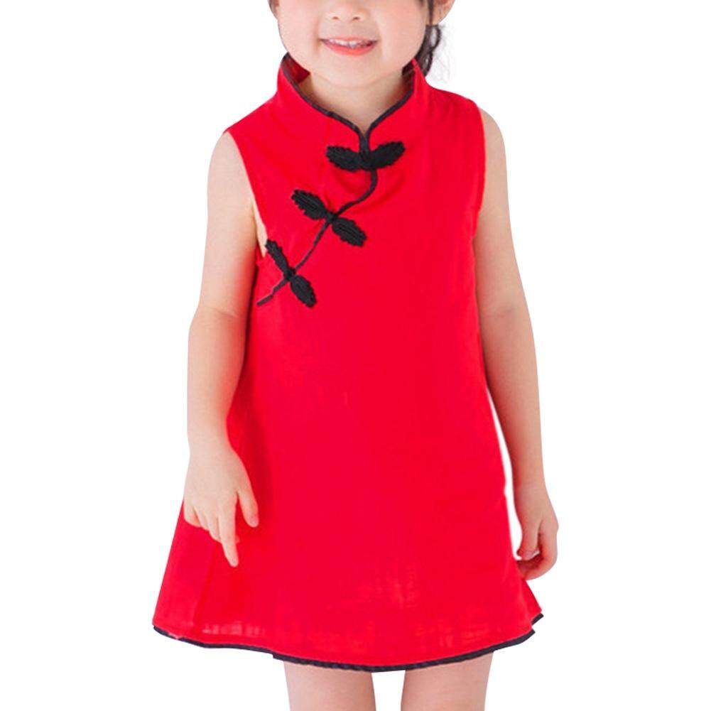 000252c62710 Kids Girls Solid Color Sleeveless Cotton & Linen Cheongsam Dress Vest Skirt