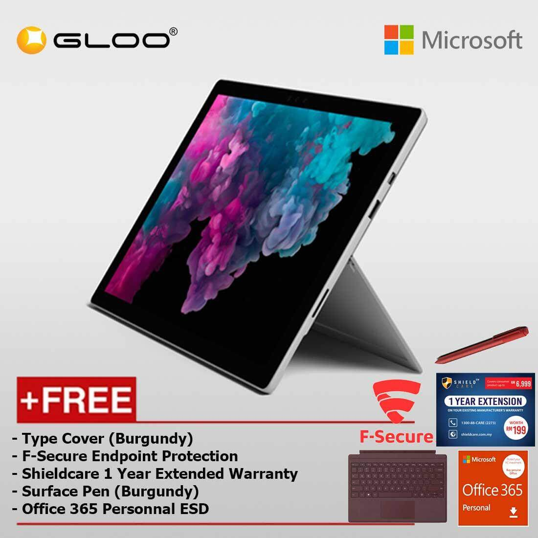 Microsoft Surface Pro 6 Core i5/8GB RAM -128GB + Type Cover Burgundy + F-Secure End Point Protection + Pen Burgundy + Office 365 Personal (ESD) Malaysia