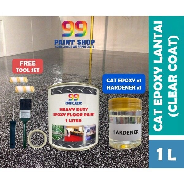 【FULL SET】1L Epoxy Clear Coat Flooring (Gloss Clear Sealer) Heavy Duty Protective Coating