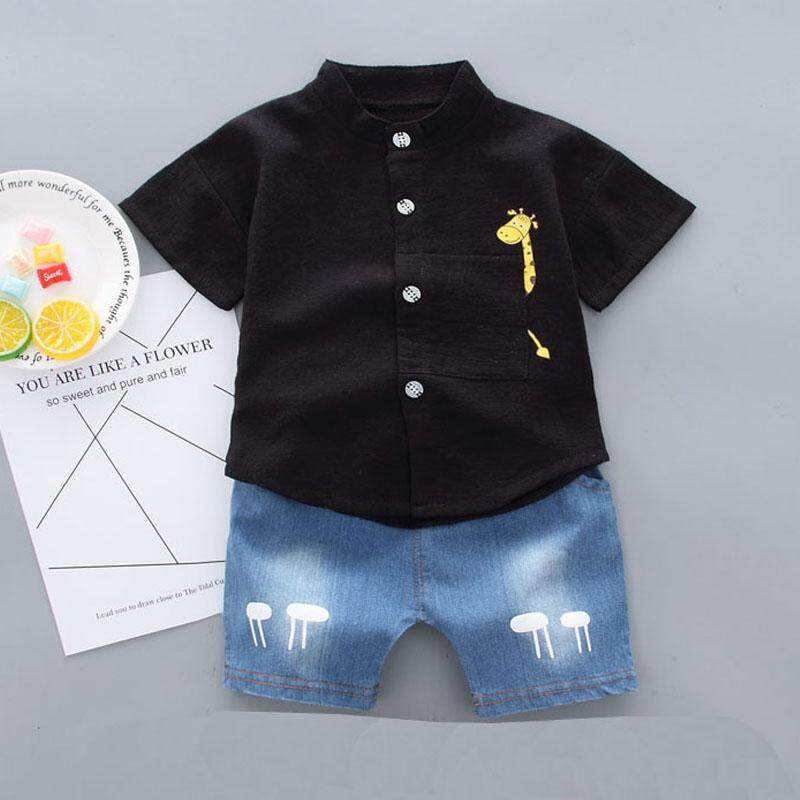 Baby Boy Clothes Set Summer Short Sleeve Shirts Top Summer+Pant Short Cotton Kid Clothes For Boy Gentleman Clothing Suit