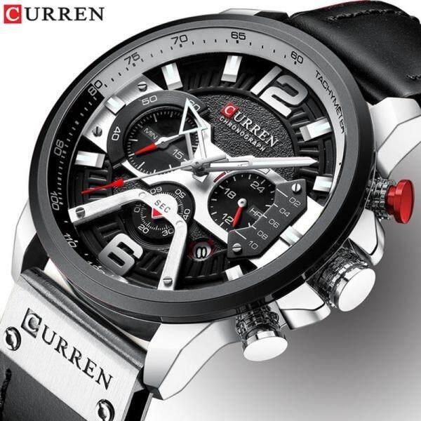 CURREN Men Sport Watches Brand Luxury Chronograph Calendar Leather Business Quartz Watch 3ATM Waterproof Fashion Casual Mens Military Clock Malaysia