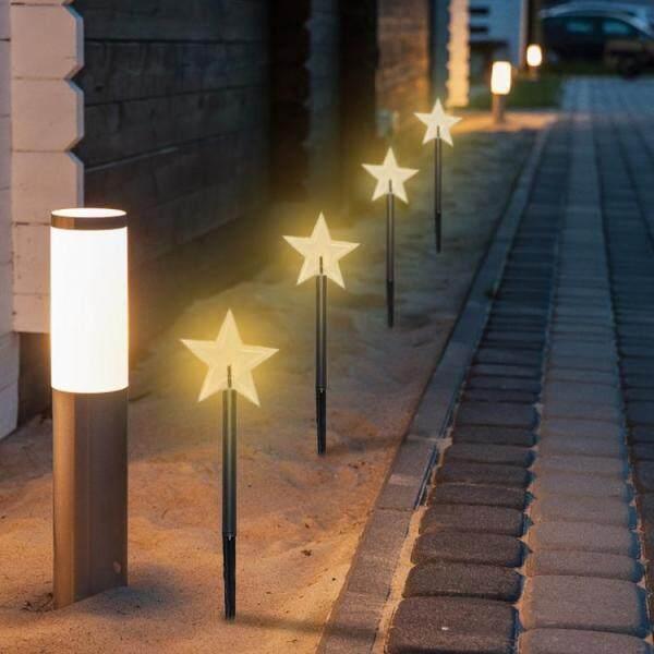 Giáng Sinh Dẫn Ánh Sáng, Đèn Cảnh Quan Trang Trí Chống Nước Bền Đèn LED Hình Ngôi Sao Năm Cánh Cây Giáng Sinh Hình Bông Tuyết Sân Vườn Kỳ Nghỉ Ngoài Trời