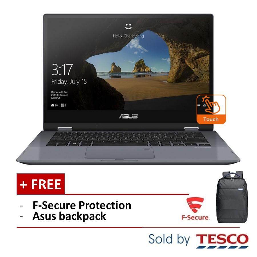 Asus Vivobook Flip 14 TP412F-AEC153T Laptop (i3-8145U/ 4GB/ 256GB) + FSecure (Star Grey) Malaysia