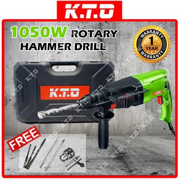 KTO ROTARY HAMMER DRILL 2-26 26MM SET + 2PCS 10MM x 165MM SDS PLUS CHISEL + DRILL CHUCK SET ( AVAILABLE IN 4 COLOR )