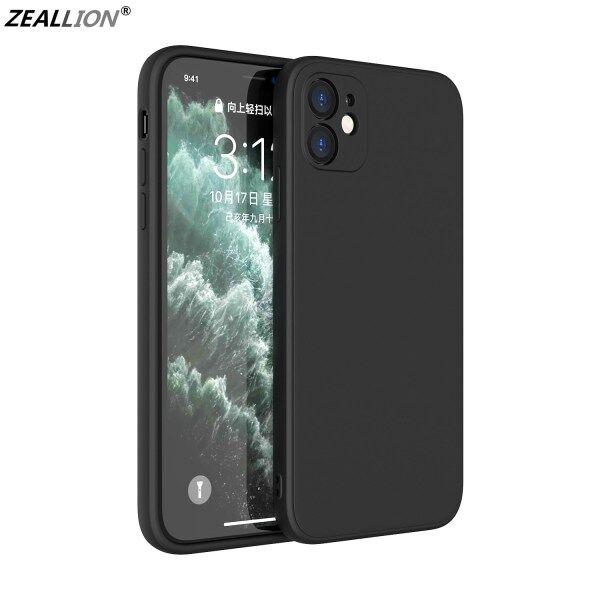 Ốp Zeallion Cho Apple iPhone 6 6S 7 8 Plus X XR XS 11 Pro Max SE 2020, Ốp Lưng Điện Thoại Silicon Lỏng, Cạnh Thẳng, Ốp Lưng Bảo Vệ Ống Kính Toàn Diện