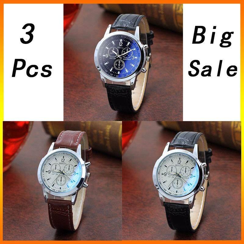 [Buy 1 Free 2]XiaoMuShan 3 Pcs Hot Sale Luxury Brand Fashion Men Quartz Watches Life Waterproof Leather Strap Mens Casual Quartz Wrist Watches Clock -International Malaysia