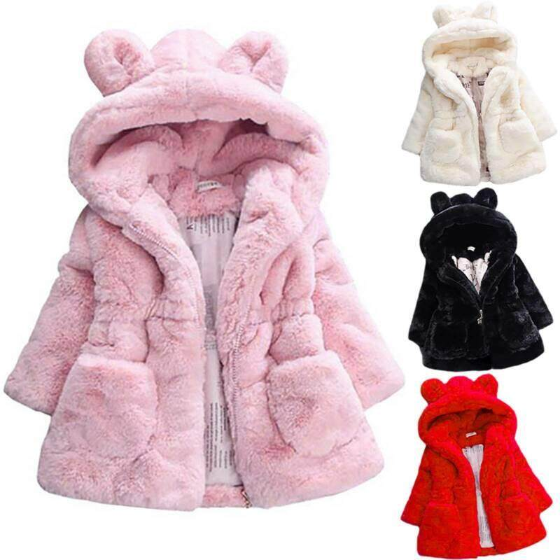 Giá bán Toddler Baby Girl Faux Fur Fleece Hooded Coat Cute Ear Parka Jacket Outwear Gift Adele