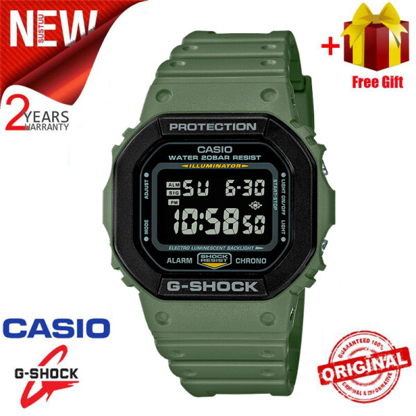 [Ready Stock] Jam Tangan Lelaki Original G Shock Men Sport Watch Dual Time Display 200M Water Resistant Shockproof and Waterproof World Time LED Auto Light Stainless Steel Wist Sports Watches with 2 Year Warranty DW5610SU-3 Malaysia