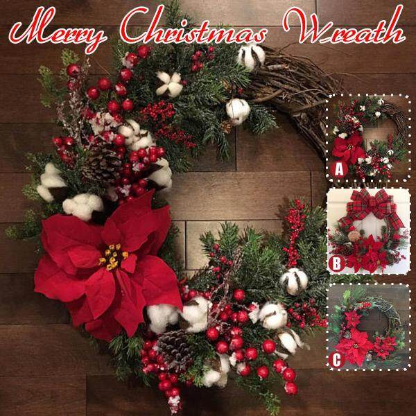 Merry Christmas Super Warm American Christmas Wreath Door Hanging Christmas Rattan Simulation Wreath Cotton Wall Decoration