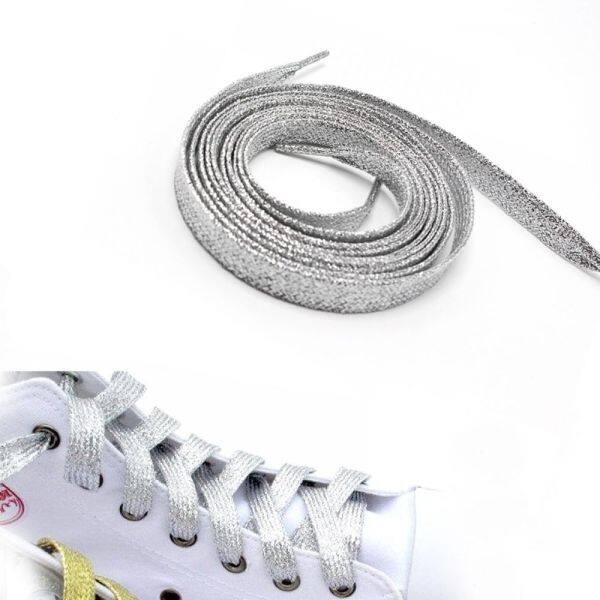 Giá bán 1 * Dòng Kim Loại Giản Dị Sáng Màu Đầy Màu Sắc Lấp Lánh Lấp Lánh 120 Cm Giày Bệt Giày Đế Bằng Dây Giày Boot Dây Giày