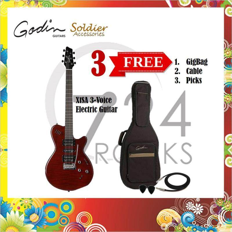 Godin XtSA 3-Voice Electric Guitar / Multi-voiced Guitar - Dark Trans Red Malaysia