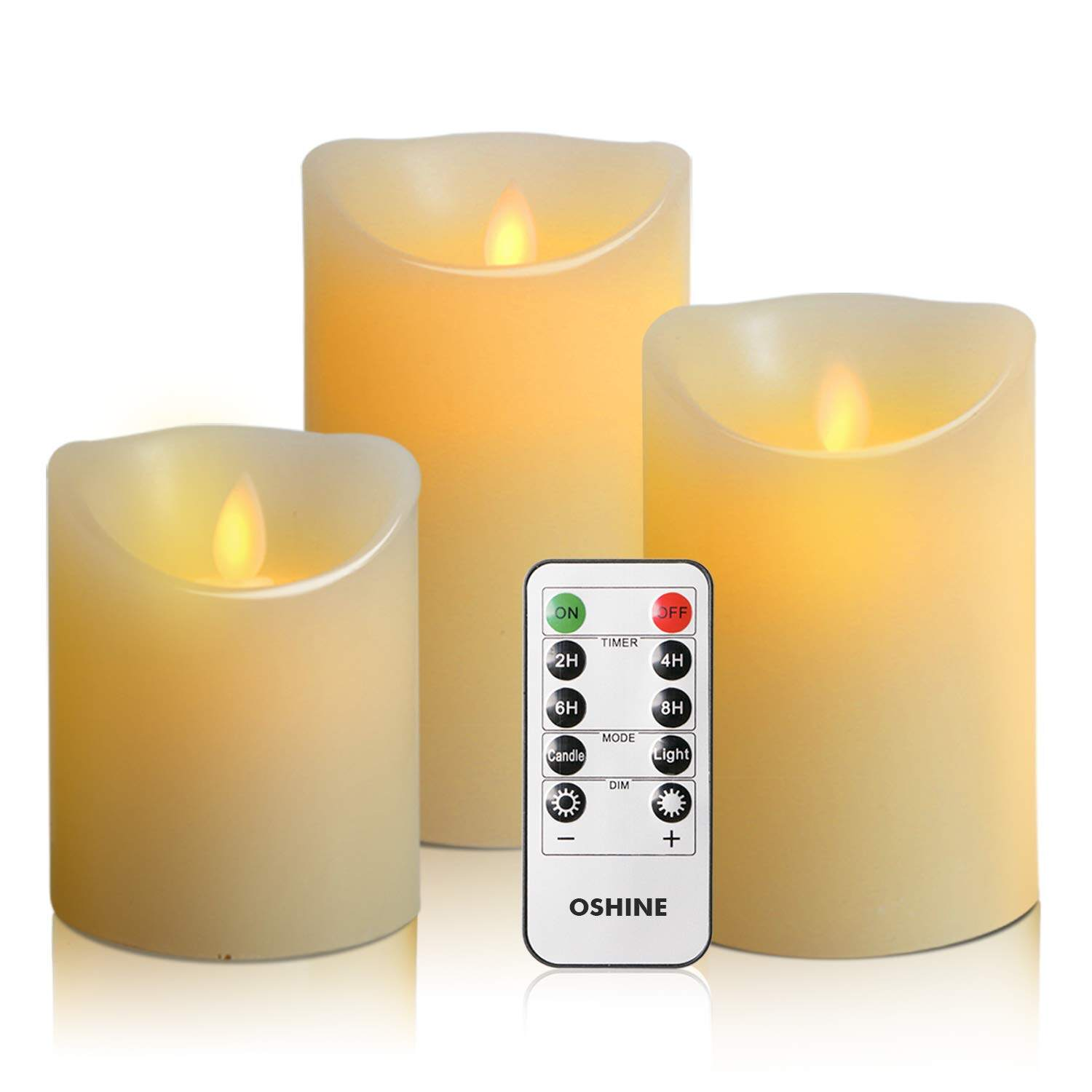 New Year Gift  Oshine Set of 3 LED Flameless Candles Dancing Flame With Remote Control and Timer