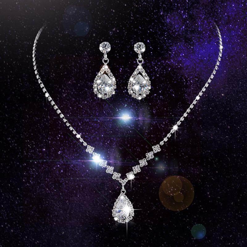 Kuhong Pernikahan Air Kristal Kalung Cincin Gantung Perak Wanita Mewah Seperangkat Perhiasan