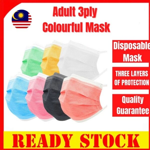 🔥KL READY STOCK🔥COLORFULL 3 Ply MASK BFE 95% Disposable Face Mask With Box . Good Quality Mask. Comfortable Breathable