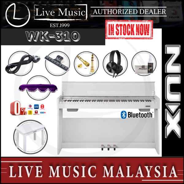 Nux WK-310 88-Key Graded Hammer Action Digital Piano With Piano Bench, Headphone, Dust cover - White (WK310) Malaysia