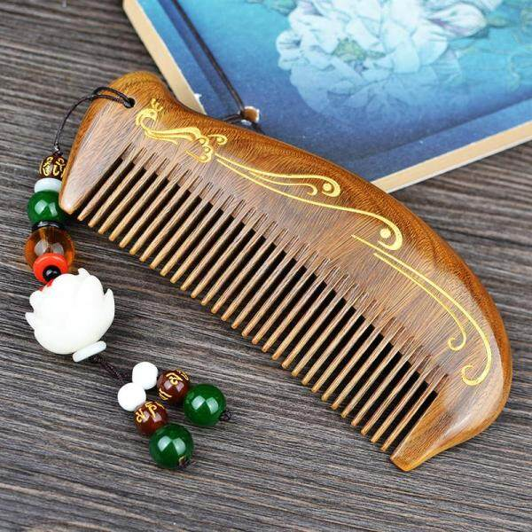 Buy Natural Green Sandalwood Comb Anti-static Household Men And Women Friends Gift Hair Loss Massage Brush Cute Lettering Small Comb Singapore