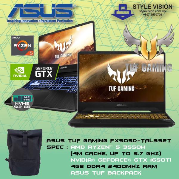 ASUS TUF FX505D-TAL392T (AMD R5-3550H | DDR4 2400 4G | 512GB M.2 SSD | 15.6FHD | GTX1650-4GB GDDR5 | W10) Malaysia