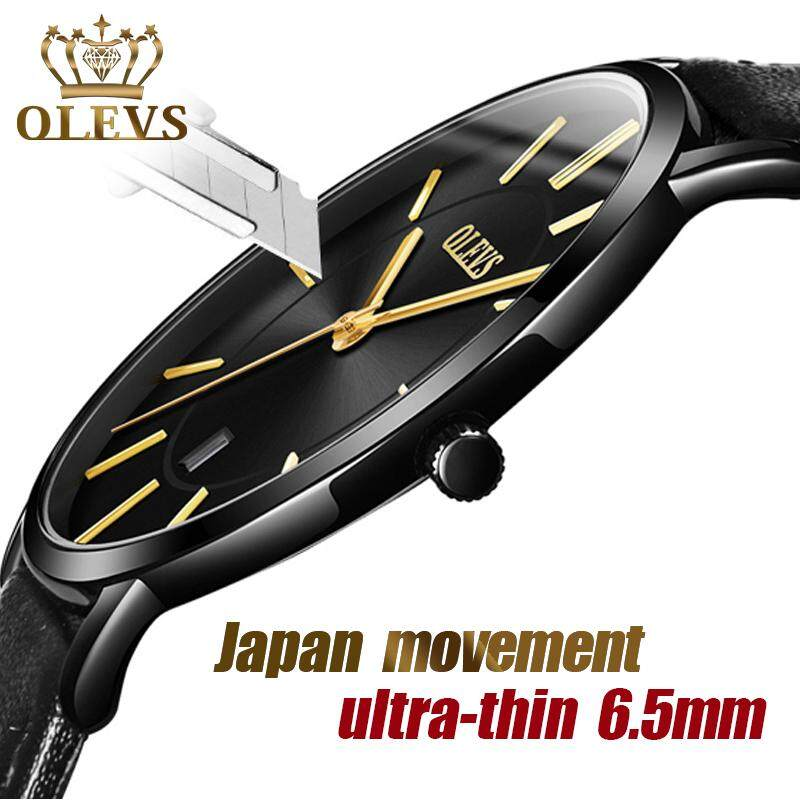 [CNY 2020] OLEVS Upgraded version Original Fashion Mens Watches Calendar Watches Water Resistant Sports Leather Quartz Watches for men jam tangan lelaki Malaysia