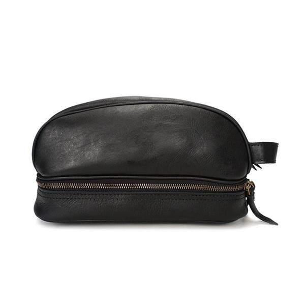 ab2bb7914ba2 Ekpher Men Genuine Leather Vintage Cosmetic Bag Solid Large Capacity Travel  Pouch Wash Bag #black