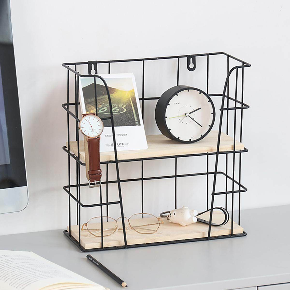 2 Tier Floating Iron Shelf Wooden Display Storage Wall Hanging Rack Home Decor