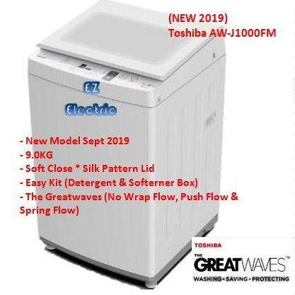 (NEW 2019) Toshiba AW-J1000FM Top Loading Fully Auto Washing Machine 9.0KG (Tempered Glass Lid)