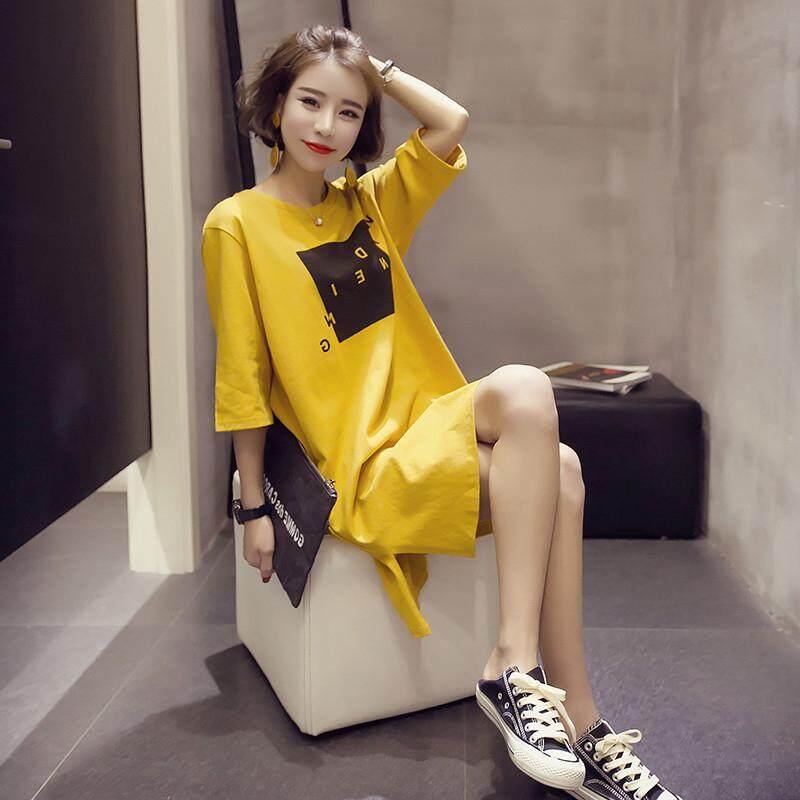 a141c1c70a42 HuaX Women Summer Casual T-shirt Dress Ladies Loose Short Sleeves Split  A-line