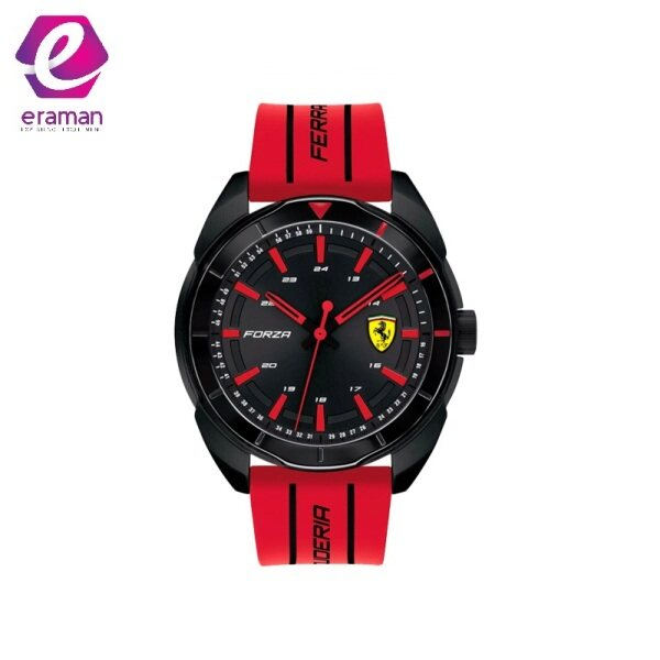 Ferrari Mens Forza Stainless Steel Quartz Watch with Silicone Strap, red, 22 (Model: 0830544) Malaysia