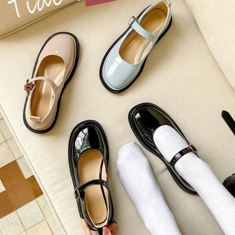 Vintage Mary Janes Giày Cao Gót Nữ Giày Nữ Giày Nữ Giày Đi Học Giày Búp Bê Cho Nữ Giày Đế Bằng Ba Lê Cho Nữ Giảm Giá 090148 giá rẻ