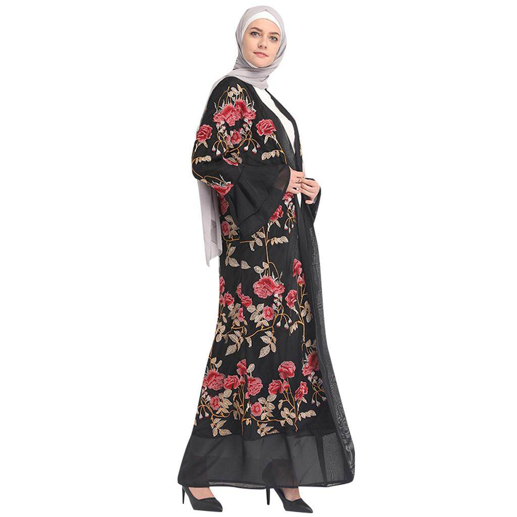 751f09d2e ALEX new arrival latest trends best pick Women Floral Printed Long Dress  Robe Open Abaya Cardigan